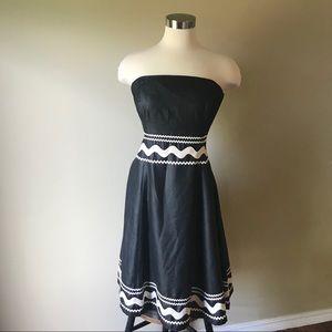 Shoshanna Strapless Black Fit Flare Ric Rac Dress
